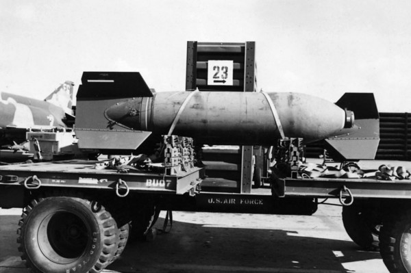 Trailer with 3000 lb bomb.